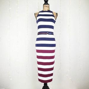Ted Baker Rowing Stripe Bodycon Yumi Midi Dress M
